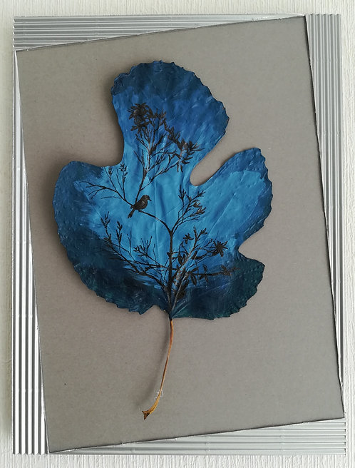 Tableau feuille peinte - Bird in blue