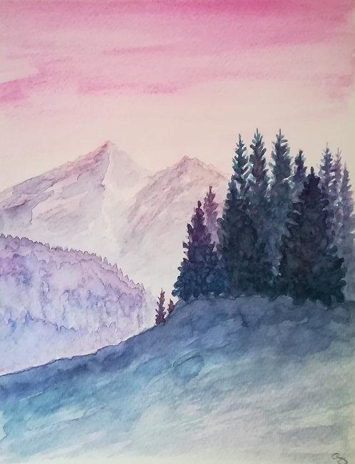 "Carte postale A5 ""Pink mountain"""