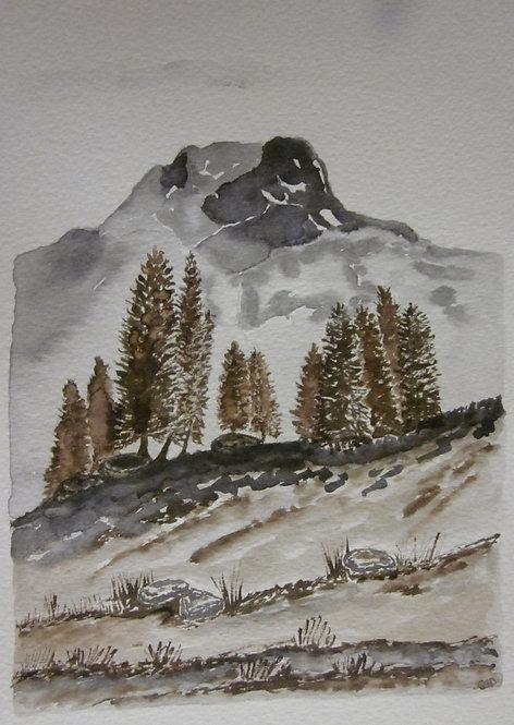 "Carte postale A5 ""Montagne sépia"""