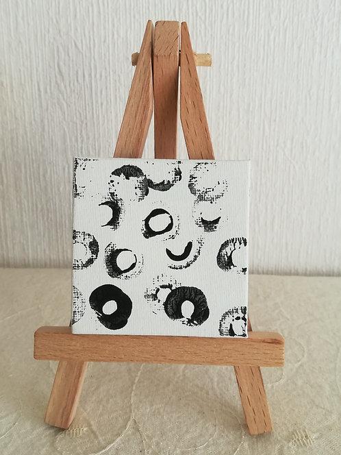 """Mini toile sur chevalet """"Circles"""""""
