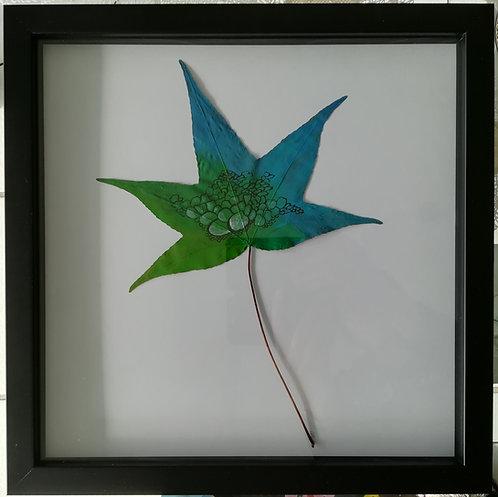Tableau feuille peinte - Turquoise iguana