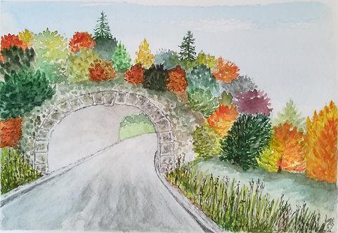 """Carte postale A5 """"Tunnel automne"""""""
