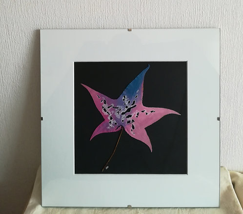 Tableau feuille peinte - Pink frog