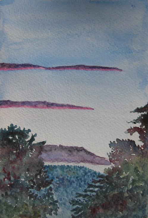"Carte postale A5 ""Jura violet sunset"""