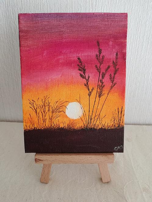 """Petite toile sur chevalet """"Purple Sunset"""""""