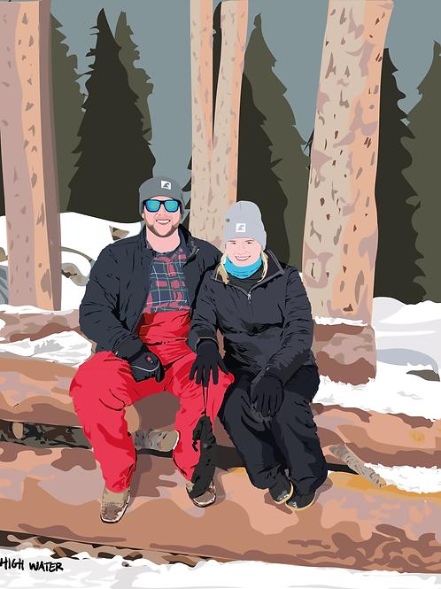 Semi-Realistic Portrait + Custom Background
