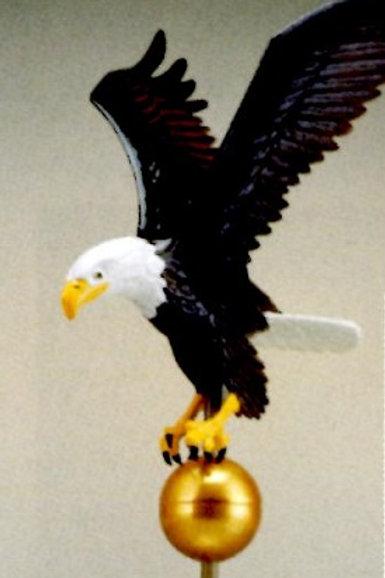 "Natural Eagle on Flagpole Ball - 9"" - ETS-EAG0463"