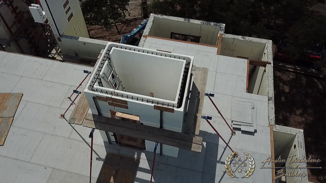 Austin Touchstone Builders - Netzero Model Home - Elevator ICF Stack - 3rd Stack