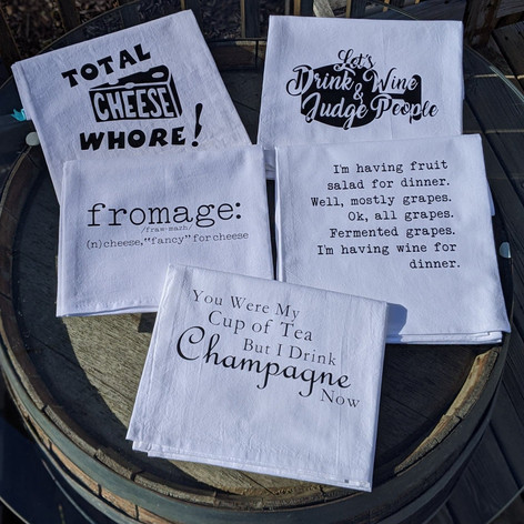 Flour sack towels, First Avenue Wine House, Cedar Rapids, Ia