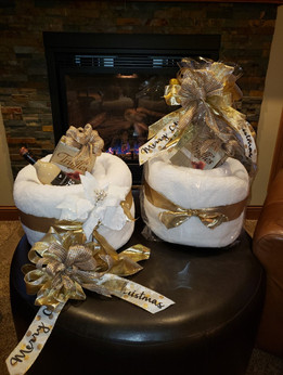 Sherpa blankets with goodies