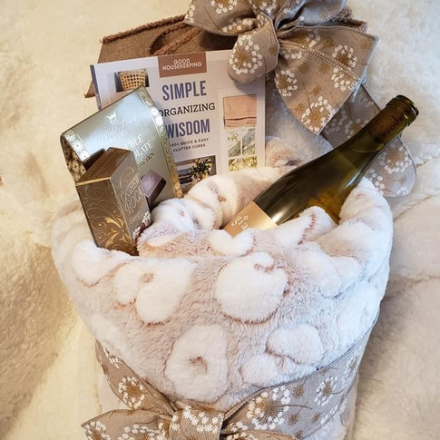 Rolled blanket with goodies