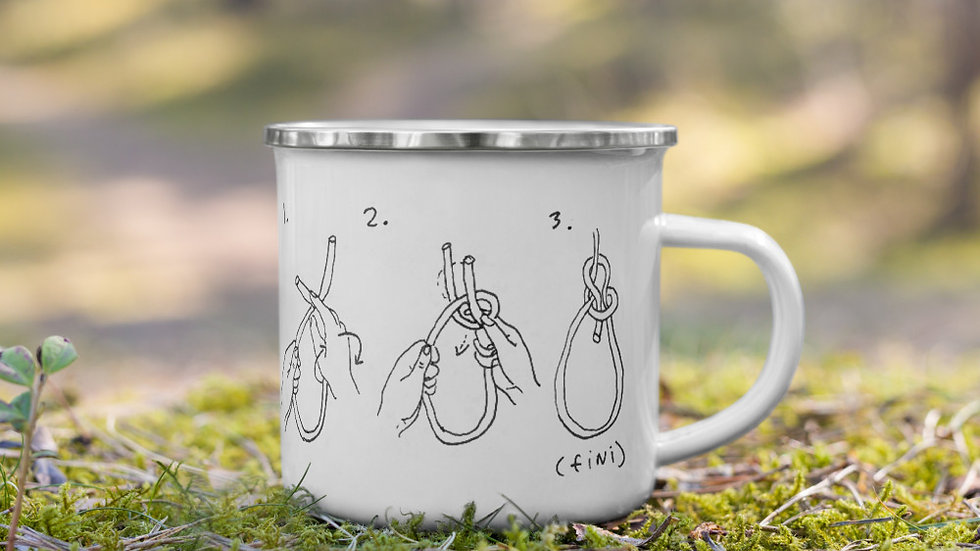 Enamel Camping Mug - How to Tie a Knot