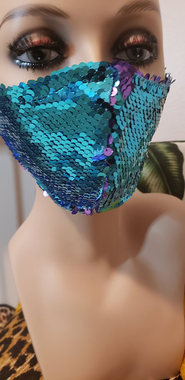 Turquoise/Purple Sequins Mask