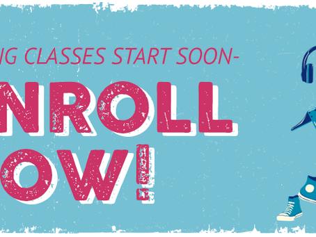Spring classes start Jan 25th