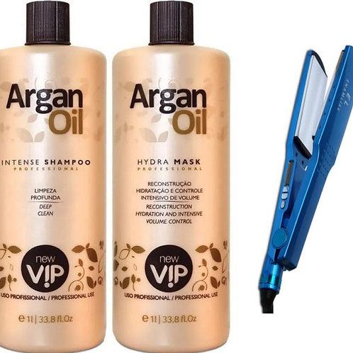 Kit VIP Argan Olie zonder formol keratine behandeling +Enamliss Stijltang 450ºF