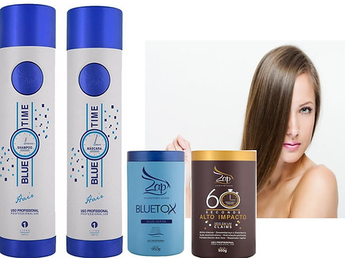 Kit 4 in1 ZAP Blue time keratine behandeling 0% formaldehyde +Botox Mascara B