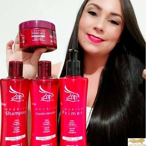 Zap Kit 4 Nourish Home care Shampoo + Conditioner + Mascara + Leave in 3x300ml +
