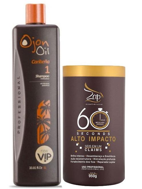 Shampoo Ojon Oil 1L + Mascara 60 seconde 950g