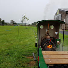 Coal fire in steam loco ready to take rides