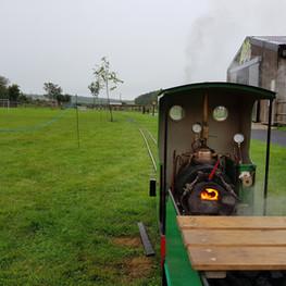 Coal fire in steam loco ready to take ri