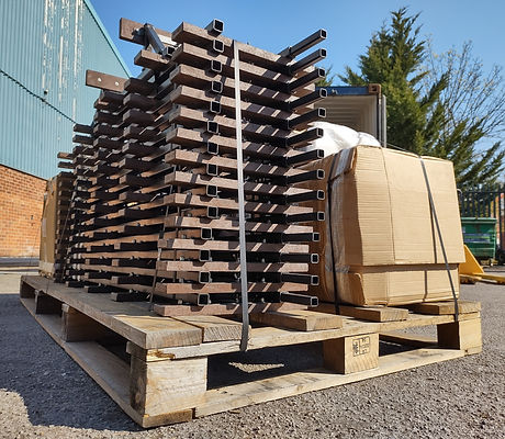 14 panels of track stacked up