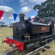 Steam loco and bunting