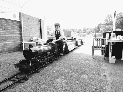 Rio Kent in charge of a test train at a TFLR Portable Track event