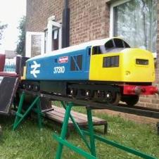 BR loco on portable rasied track