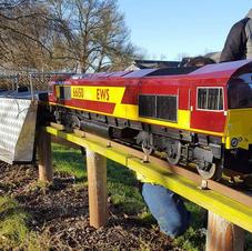 EWS loco on permanent raised track
