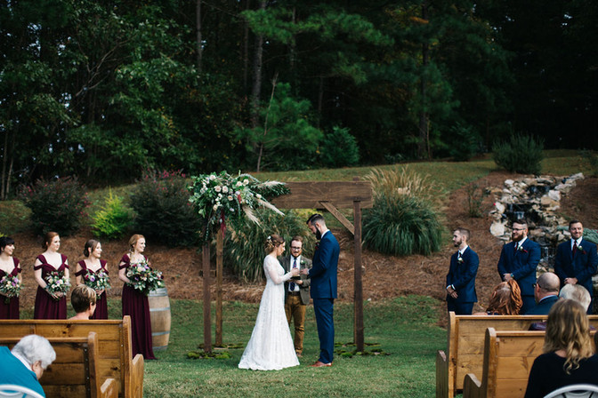 Ceremony outdoor space at Macedonia Hills Weddings and events Barn venue
