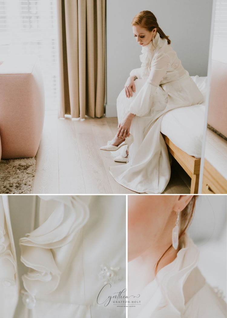 A bride wearing a silk wedding coat, wedding shoes and bridal jewellery