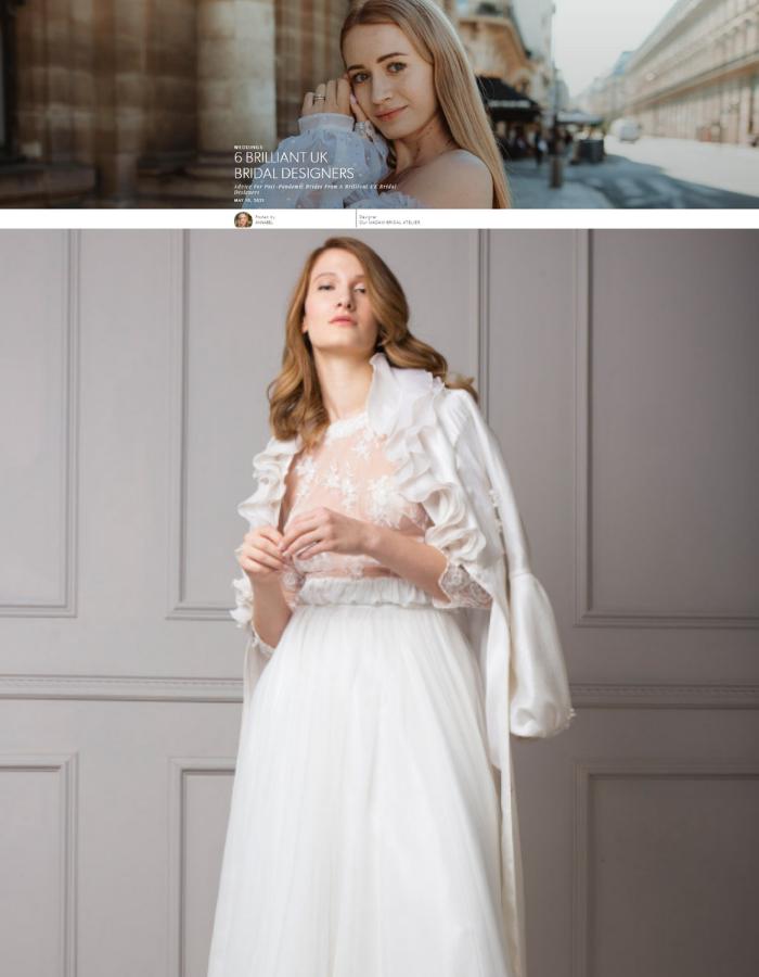 Bride wearing a 3 piece silk wedding dress with sleeves