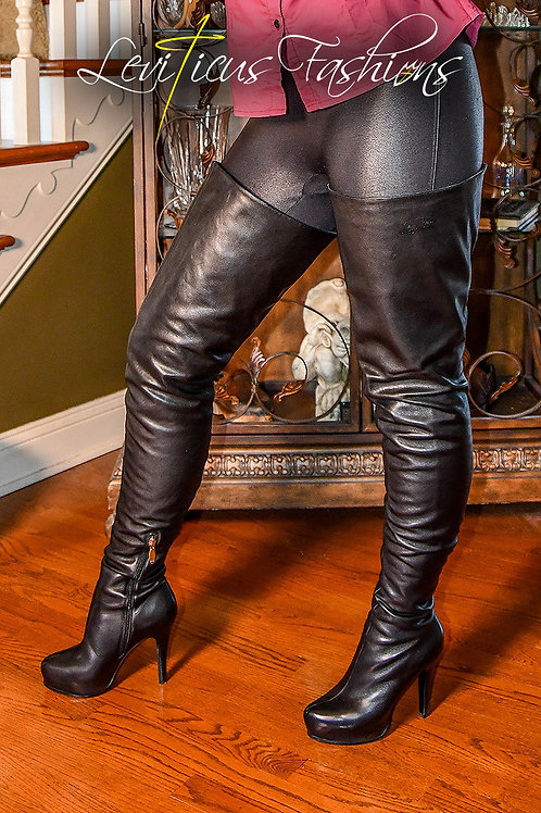 BLACK LEATHER 3.0 SINGLE-SEAM PLATFORM HIGH-RIZE THIGH BOOTS