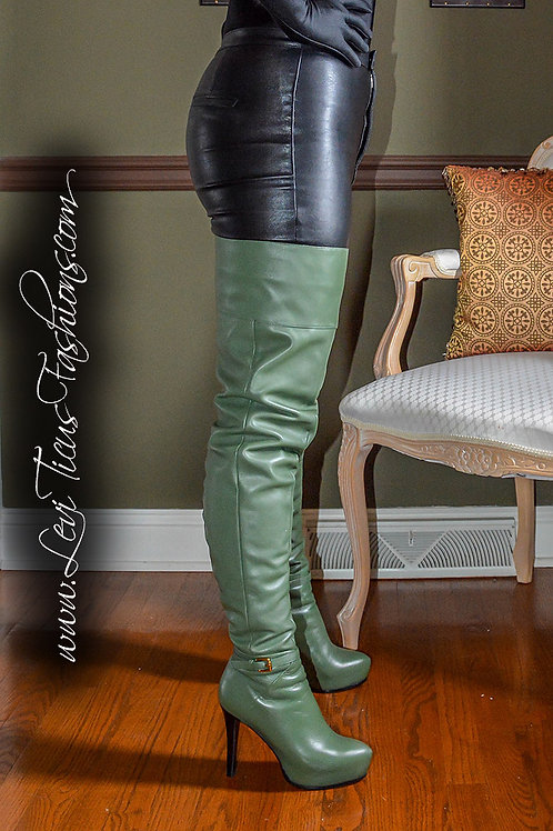 SAGE GREEN LEATHER 2.0 PLATFORM HIGH-RIZE BOOTS