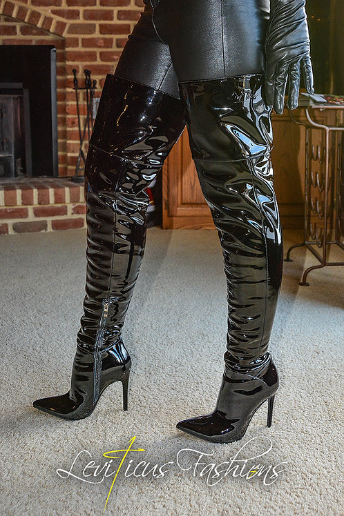 BLACK PATENT LEATHER 2.5 STILETTO HIGH-RIZE THIGH BOOTS