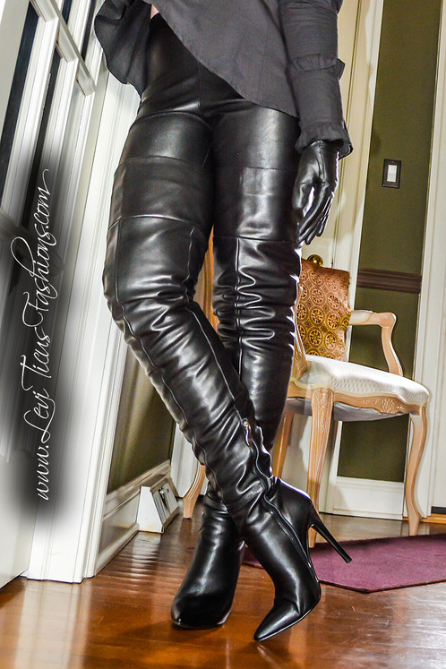 f351c784afd Soft black cow leather high-rize fashion boots. Lined with soft plush  fabric for extra warmth and comfort. The sleak stacked-look stiletto heels  are 4 1 2 ...