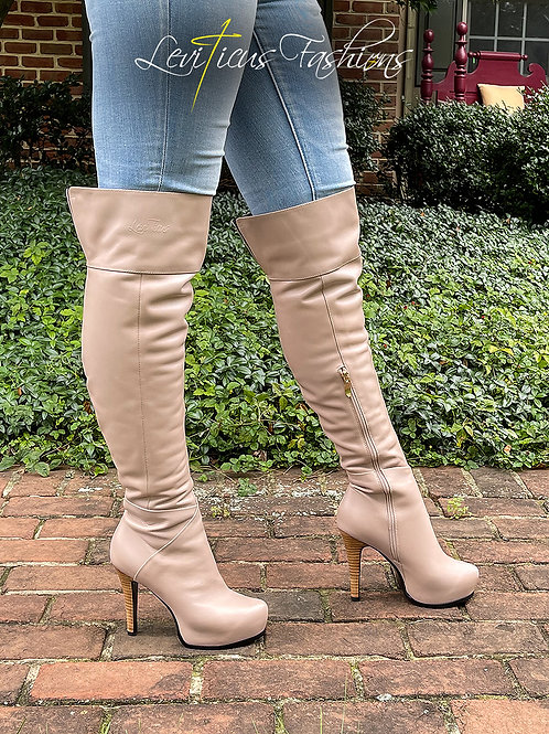 TAUPE LEATHER 2.0 PLATFORM OVER THE KNEE BOOTS