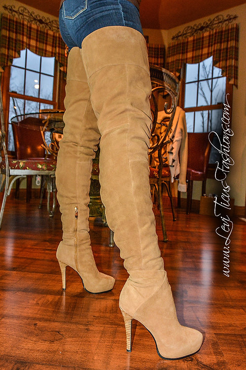 CAMEL BROWN SUEDE 2.0 PLATFORM HIGH-RIZE THIGH BOOTS