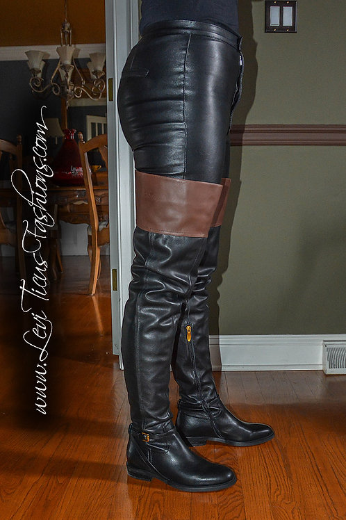 EQUESTRIENNE BLACK WITH BROWN LEATHER 2.0 FLAT HIGH-RIZE BOOTS