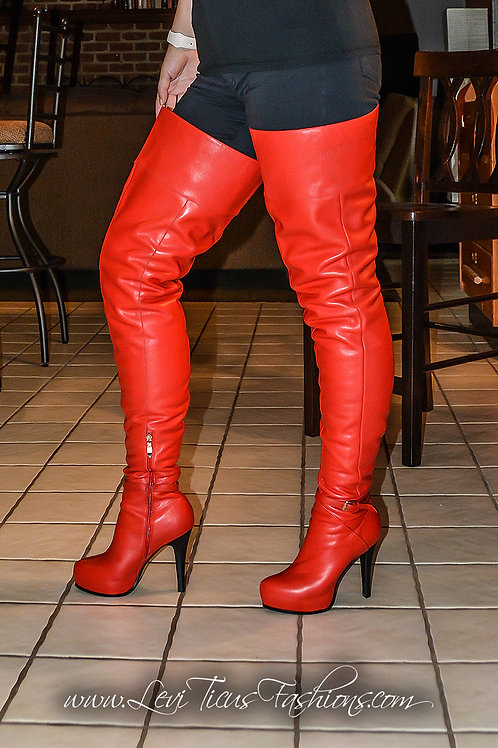 AMERICAN RED LEATHER 2.0 PLATFORM HIGH-RIZE BOOTS