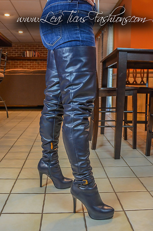 NITTANY BLUE LEATHER 2.0 PLATFORM HIGH-RIZE BOOTS