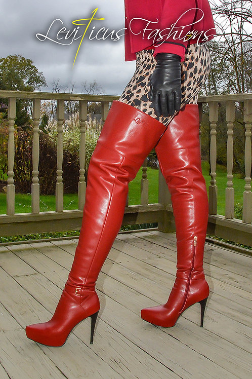 CRIMSON RED LEATHER 2.5 STILETTO PLATFORM HIGH-RIZE THIGH BOOTS