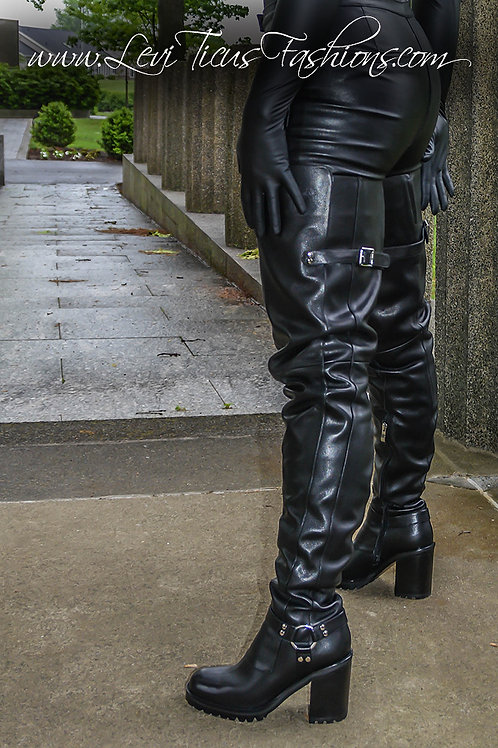 URBAN RUSTIC 2.0 BLACK LEATHER THICK HIGH-RIZE THIGH BOOTS
