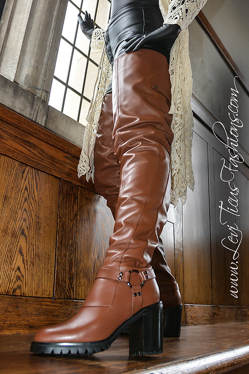 URBAN RUSTIC 2.0 TIMBER BROWN LEATHER THICK HIGH-RIZE THIGH BOOTS