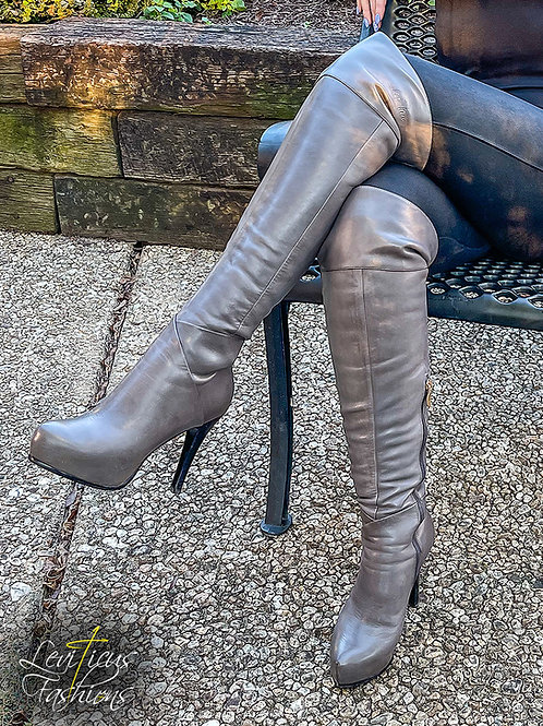 SHALE GREY LEATHER 2.0 PLATFORM OVER THE KNEE BOOTS