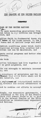 Manuscript of UN Charter.