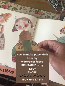 How To Make Paper Dolls with my printable on ETSY....