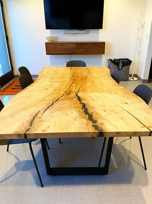 Maple Slab Table with Mild Steel Base