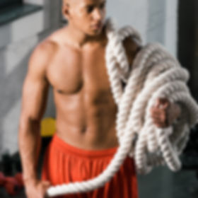 serious muscular african american sports