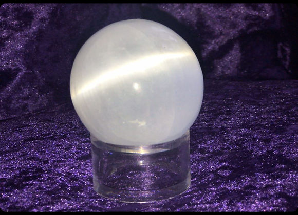 Selenite Crystal Sphere & Holder